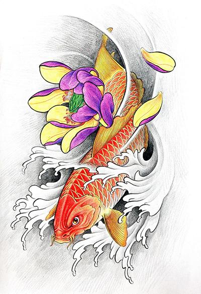 传统纹身图案之【鱼纹身】